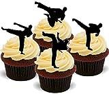 NOVELTY KICK BOXING MIX Tai Kwon Do, Judo, Martial Arts - Standups 12 Edible Standup Premium Wafer Cake...