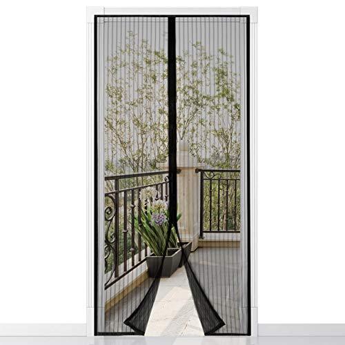 Magnet Fliegengitter Balkontür 100x210cm, Der Magnetvorhang ist Ideal für die Balkontür, Klebemontage Ohne Bohren,einfach mit schwerkraft sticks zu verschließen