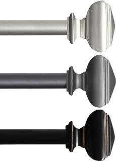 H.VERSAILTEX Window Treatment Single Curtain Rods Set, 48 to 84 inch, 3/4 - Inch Diameter, Classic West Square Decorative Drapery Curtain Hardware