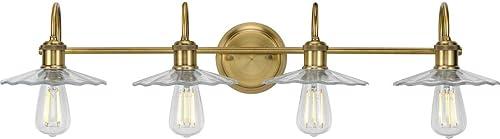 popular Fayette Collection 4-Light outlet sale popular Clear Glass Farmhouse Bath Vanity Light Vintage Brass online