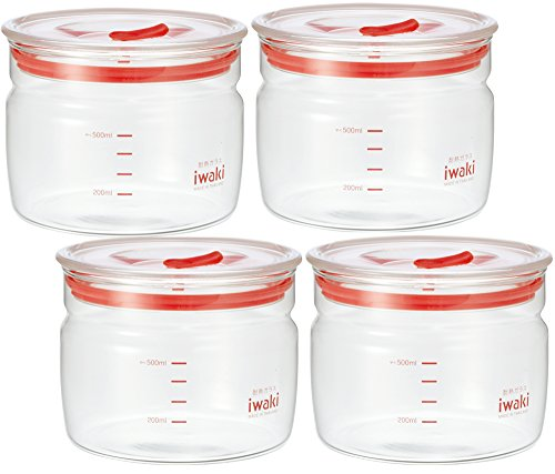 iwaki(イワキ)耐熱ガラス密閉容器キャニスター径12.4×高さ9.6cm550ml×4個セットKB7001M-R