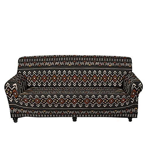 Tobgreatey Cubrecama africano, sin costuras, decorativa, funda de sofá para niños y mascotas, con tirantes elásticos, color blanco, L