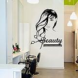 Tianpengyuanshuai Beautiful girl long hair scissors comb barber shop wall sticker vinyl removable