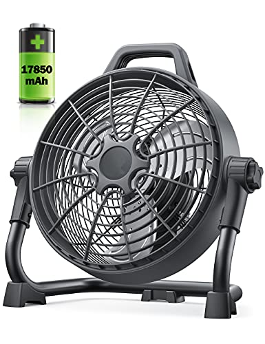 Rechargeable Floor Fan, 17850mAh Battery Outdoor Portable Fan, industrial fan 1700 CFM Airflow, Stepless Speed Control, 220° Adjustable Head