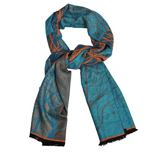 Elegante Damen Jacquard-Quasten Schal Multifunktionaler langer Schal Dicker Stola Kopftuch Pfauenblume Nationale Stil (Baumblau)