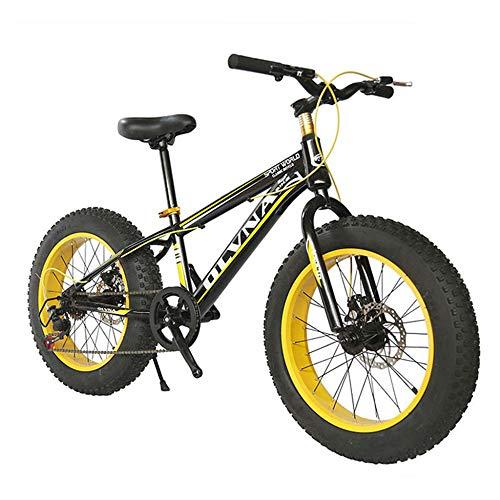 ZXCVB Bicicleta De Montaña De 20/26 Pulgadas / 4.0 Absorción De Choque De Neumático Súper Ancho Y Grande Snow Cross Country Beach MTB,Yellow-20inch/24speed