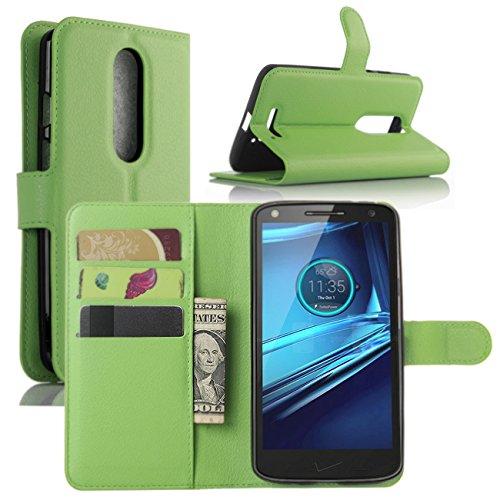 HualuBro Moto X Force Hülle, [All Aro& Schutz] Premium PU Leder Leather Wallet HandyHülle Tasche Schutzhülle Flip Hülle Cover für Motorola Moto X Force Smartphone (Grün)