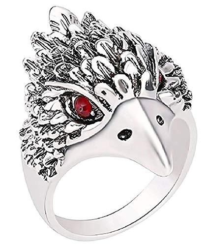Ring met gezicht van steenarend - indiaanssymbool - rode glimmende stenen - zilverkleur - staal - unisex man - vrouw - jongens - meisjes - cadeau-idee