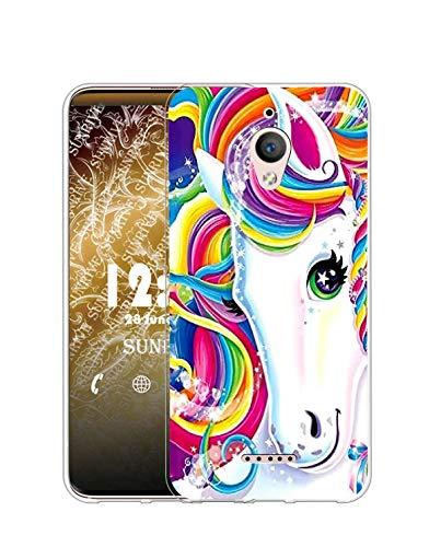 Sunrive Funda Compatible con Alcatel A2 XL, Silicona Slim Fit Gel Transparente Carcasa Case Bumper de Impactos y Anti-Arañazos Espalda Cover(Q Unicornio 2)