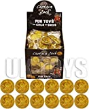 Kurtzy 144 Pack of Gold Plastic Pirate Coins Doubloons Pretend Money Skull and Cross Bones Swords Kids Childrens Party Parties Pirate Themed Event by Curtzy Tm