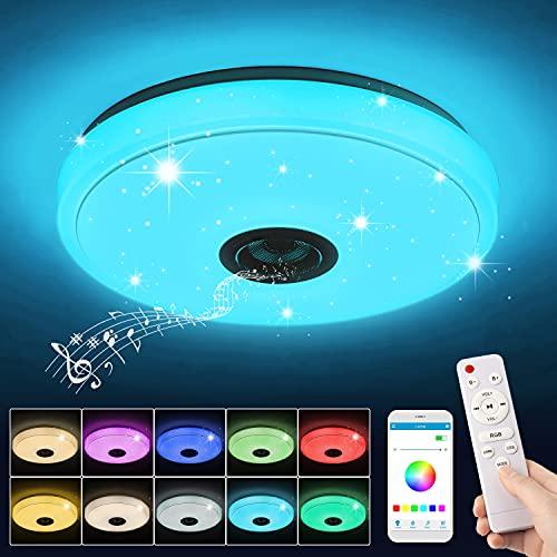 Plafonnier LED Musique 36W, Lampe Plafond Bluetooth avec RGB Changement de couleur/Télécommande et Contrôle APP/3000-6500K, Luminaire Plafonnier pour Salon, Couloir, Chambre, Cuisine, Ø 33 cm