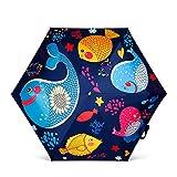DORRISO Linda Niño Niños Paraguas Plegable Estudiante Paraguas Paraguas Resistente al Viento Impermeable Viaje Parasoles Azul Pescado