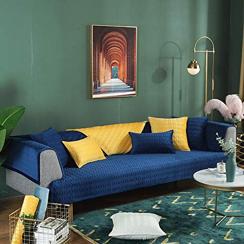 YUTJK Funda de sofá de Esquina,Fundas de Asiento de sofá de Tela para Sala de Estar,Funda Protectora de Muebles,Funda de sofá de Felpa Gruesa súper Suave,para sofá de 1/2/3/4 plazas,Azul Marino_Los 9