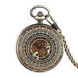 Reloj de Bolsillo, Vintage Bronce Mecánico Hollow Exquisito Diseño Viento Mano Números Romanos Mostrar Pantalla Reloj Regalo para Hombres Mujeres Reloj de Bolsillo (Color : Bronze)