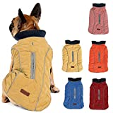 Pethiy Waterproof Windproof Reversible Dog Vest Winter Coat Warm Dog Apparel Cold Weather Dog Jacket Yellow S