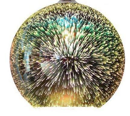 XXL 20cm Lampenschirm 3D Effekt Feuerwerk E27 Firework Glas Ersatzglas Schirm Ersatzschirm Lampen modern stylisch future Designglas für Pendellampe, Tischlampe, Fluter, Leuchte