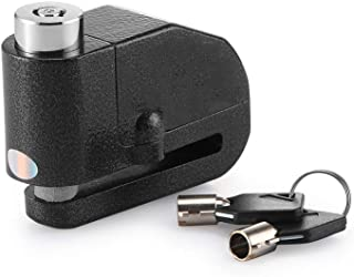 KIKBLW Motorcycle Security Disc Lock Anti Thief Alarm Lock Waterproof 110dB Alarm Sound Black
