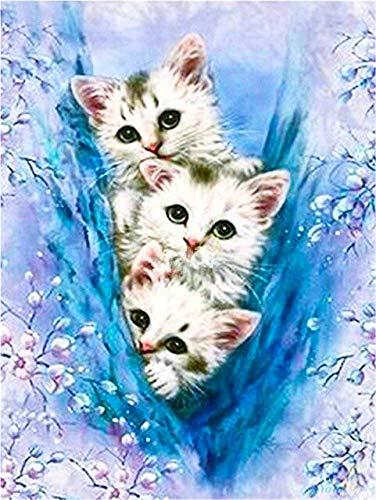 Evershine 5D DIY Diamond Painting Full Square Cat Rhinestones Pictures Diamond Embroidery Animals Mosaic Sale Home Decoration FullRound40X50cm 9207