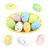 Wishstar Uovo di Pasqua, 12 Pezzi Uova di Pasqua con Due Cesti, Artigianato per Decorazione delle Uovo Pasqua, Addobbi Pasquali, Decorazione da Appendere, Uovo Decorato - 04K