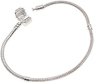 SEXY SPARKLES Silver Tone Snake Chain Classic Bead Barrel Clasp Bracelet for Beads Charms.6.5