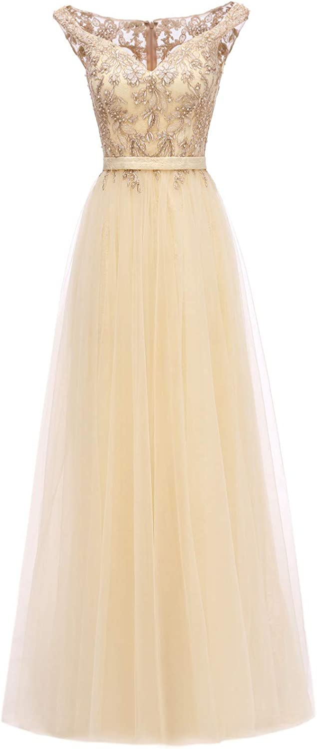 Huifany Womens V-Neck Cap Sleeve Lace Prom Bridesmaid Dresses Long Formal Evening Ball Gowns