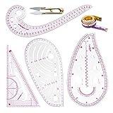 Juego de reglas de costura métricas transparentes de moda, juego de regla de patrón de curva francesa para principiantes y sastres diseñadores (6 piezas)