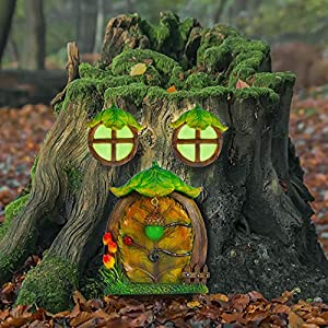 juegoal miniature fairy gnome home window and door for trees decoration leave shape glow in dark fairies sleeping door and windows yard art garden noctilucence sculpture lawn ornament decor