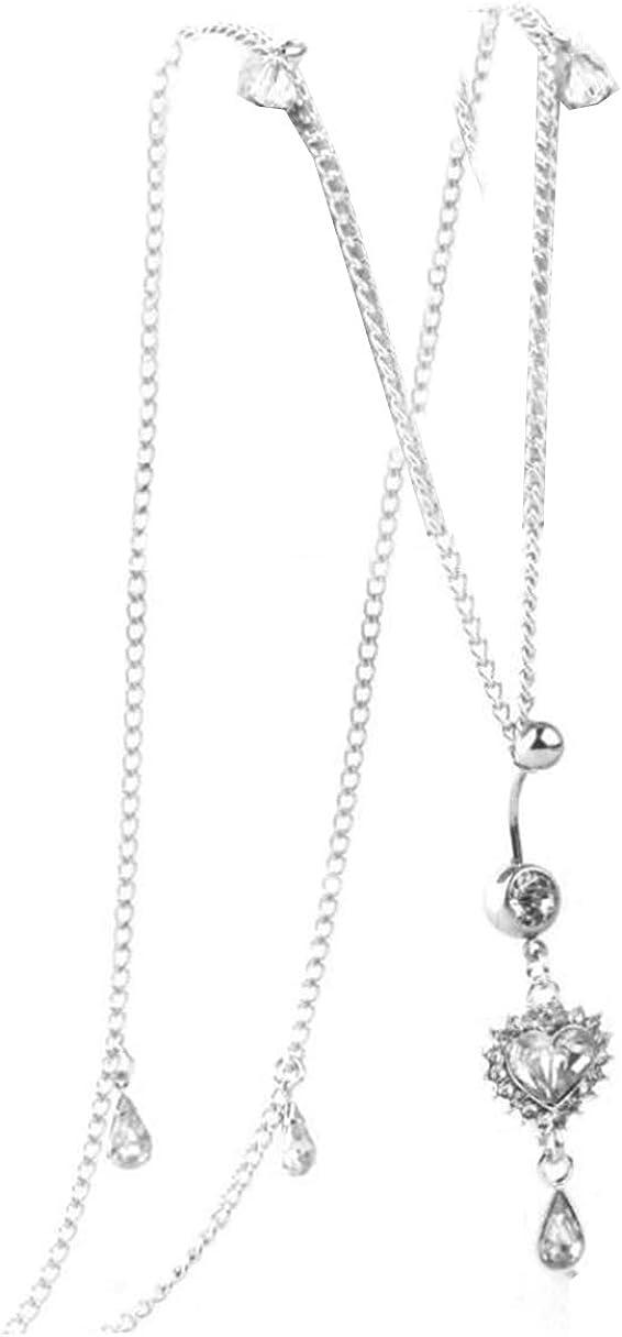 Kiokioa Women Rhinestone Dangle Belly Button Ring with Waist Chain Crystal Drop Pendant Navel Piercing Body Jewelry