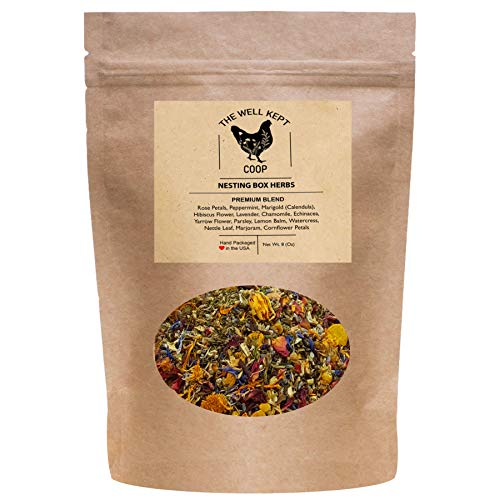 Nesting Box Herbs for Chickens (8 Ounces) - Premium Blend of 14 All Natural Dried Herbs and Flowers- Keeps Coop and Nest Boxes Smelling Fresh and Clean - Edible Aromatherapy for Relaxed and Happy Hens