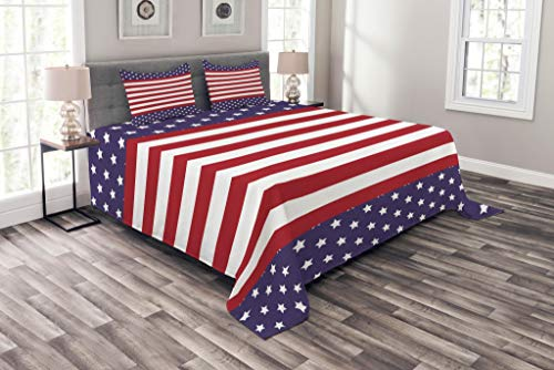 Lunarable Striped Bedspread, American Flag Stars Stripes USA Royalty Emblem Nation Country Print, Decorative Quilted 3 Piece Coverlet Set with 2 Pillow Shams, King Size, Violet White