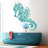 Vinyl Sea Horse Wall Decal Marine Fish Wall Sticker Sea Animal Wall Decal Ocean Fish Mural Home Art Decor Teal