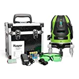 Huepar Green Beam Multi - Line Laser Level -Four Vertical and One Horizontal Lines with Down Plumb Dot -Alignment Self-leveling Laser Tool -360° Rotating Base, Hard Carrying Case Included 6141G