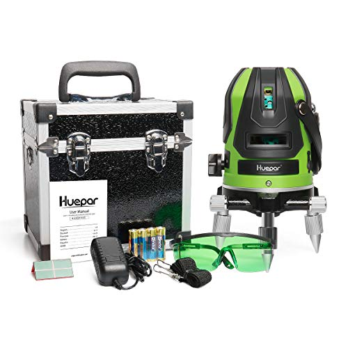 Huepar Green Beam MultiLine Laser Level  Four Vertical and One Horizontal Lines with Down Plumb Dot  Alignment Selfleveling Laser Tool  360° Rotating Base Hard Carrying Case Included 6141G