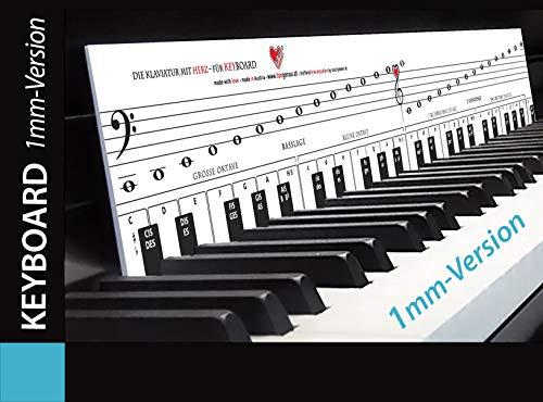 """KEYBOARD lernen mit der TonGenau-Methode """"Klaviatur mit Herz"""" Tastenschablone/Klavierschule: Musiknoten, Notennamen, Tastenorientierung. VERSION mit 1 mm Stärke!"""