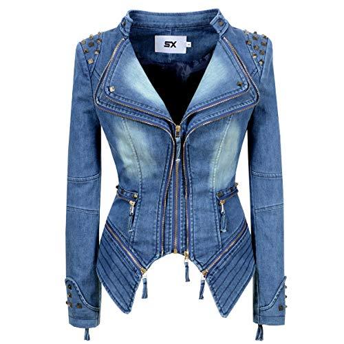 SX Women's Fashion Lapel Zip Up Studded Shoulder Lapel Denim Jeans Blazer Moto Biker Jacket (L, Blue)
