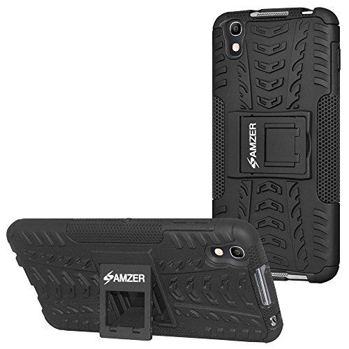 AMZER Slim Protective Shockproof Hybrid Warrior Dual Layer Case Skin for BlackBerry Dtek50, Alcatel Idol 4 - Black