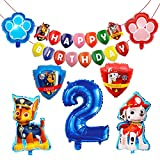 HONGECB Decoración Cumpleaños Patrulla Canina, Suministros de fiesta de Patrulla Canina, Banner de Happy Birthday, Numeros 2 Decoracion, Perros Foil Helio Balloons for Kids, 9 Piezas