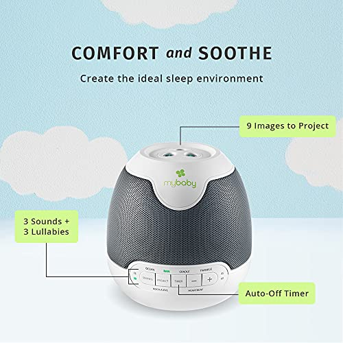 MyBaby, SoundSpa Lullaby - Sounds & Projection, Plays 6 Sounds & Lullabies, Image Projector Featuring Diverse Scenes, Auto-Off Timer Perfect for Naptime, Powered by an AC Adapter, By HoMedics