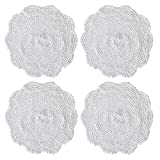 kilofly Manteles individuales de encaje de algodón de ganchillo, paquete de 4 unidades, Hexa, blanco, 30,48 cm