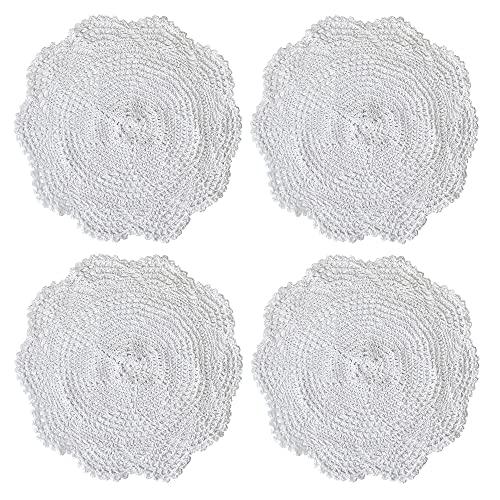 Kilofly - Centrini in cotone all'uncinetto, motivo esagonale, 34,80 cm, confezione da 4 pezzi, Cotone, White, 30,5 cm