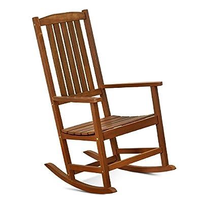 FURINNO Tioman Hardwood Patio Furniture Rocking Chair in Teak Oil, Natural