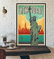 トラベルワールドトラベルシティミニマリストレトロトラベルキャンバスポスターアムステルダムロンドンニューヨークポスター印刷ウォールアートデコレーション
