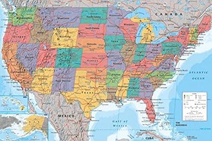 Cartina Politica Usa Da Stampare.1art1 Carte Poster Stampa 91x61 Cm Carta Geografica Delle Stati Uniti In Inglese E Coppia Di Barre Porta Poster Nere Amazon It Casa E Cucina