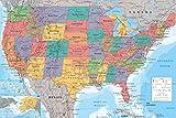 1art1 Mapas - Mapa Geográfico De Los Estados Unidos De América, En Inglés Póster (91 x 61cm)