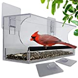 Window Bird Feeders with Sliding Feed Tray for Outside, Hanging Bird Feeder, Never Falling Off