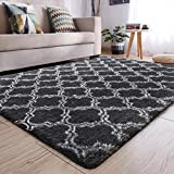 YJ.GWL Soft Indoor Large Modern Area Rugs Shaggy Patterned Fluffy Carpets Suitable for Living Room and Bedroom Nursery Rugs Home Decor Rugs for Christmas and Thanksgiving 6'x9'Grey Trellis