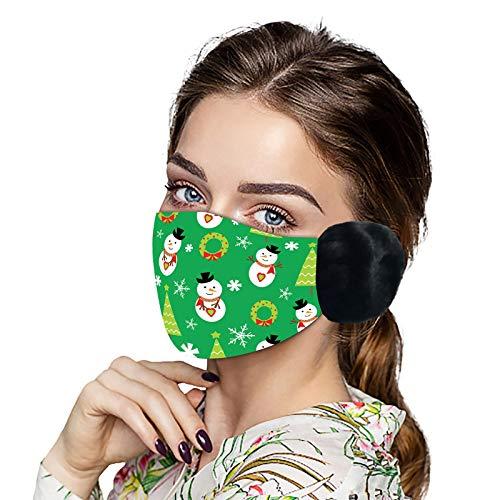 1 Pieza 𝓜áscarillas Tela Mujer con Orejeras de Felpa cálido y Confortable impresión de Navidad Anti Smog