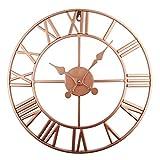Impresionante reloj de pared silencioso para interior/jardín, números romanos, cara abierta, metal, redondo, hierro negro (40 cm) (cobre)