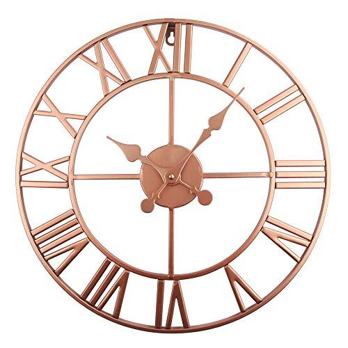 Reloj De Pared con Números Romanos Gigantes ,Reloj De Pared Decorativo Retro De Gran Tamaño -Silencioso 40CM (Cobre)