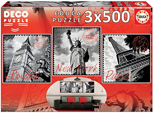 Educa Borras - Serie Deco, 3 puzzles de 500 piezas, Grandes Ciudades (17096)